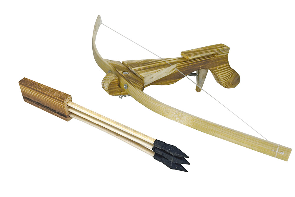Wooden Crossbow with Arrows