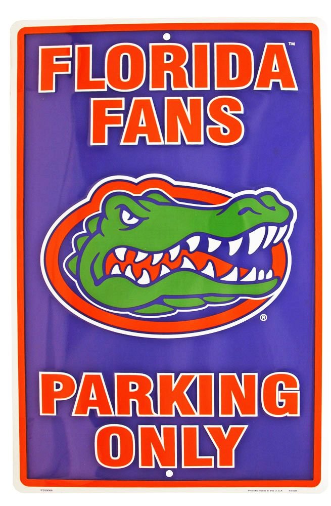 Florida Gator Fans Parking Only Tin Sign