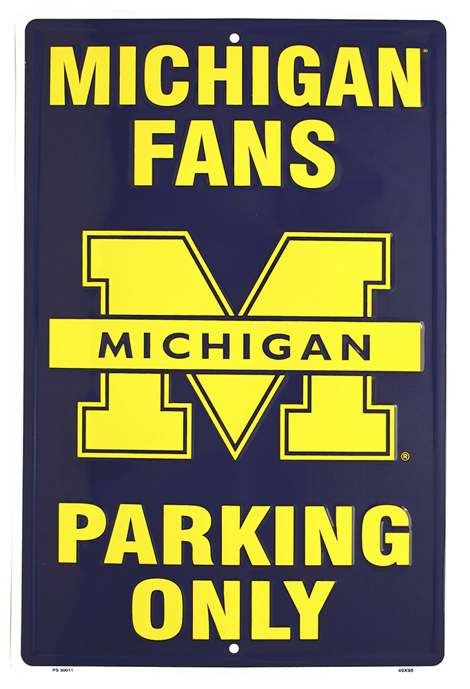Michigan Fans Parking Only Tin Sign