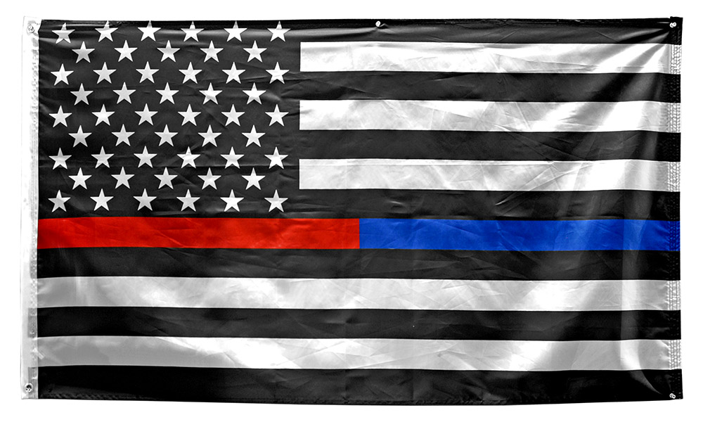 3' x 5' Thin Red and Blue Line American Flag (Firefighters and Police)