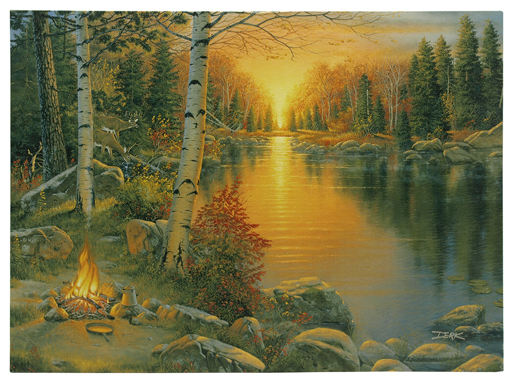 16 in x 12 in LED Canvas Wall Art - Campfire at Sunset