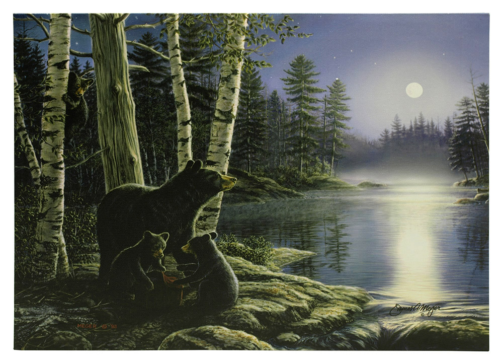 16 in x 12 in LED Canvas Wall Art - Moonlight Bears
