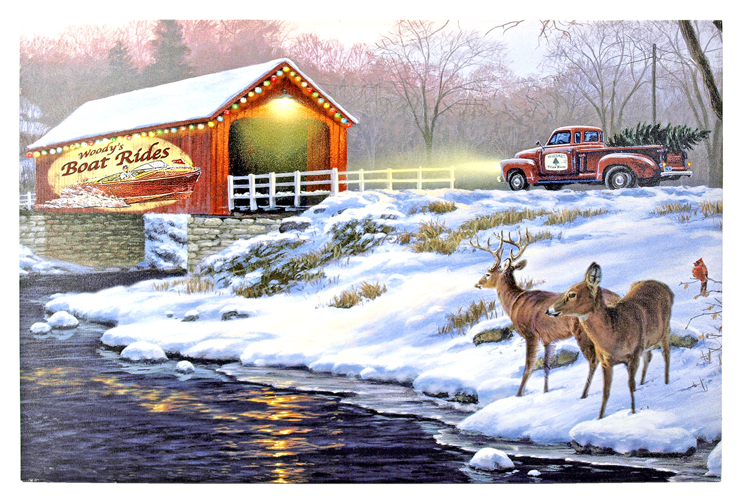16 in x 12 in LED Canvas Wall Art - Holiday Traditions
