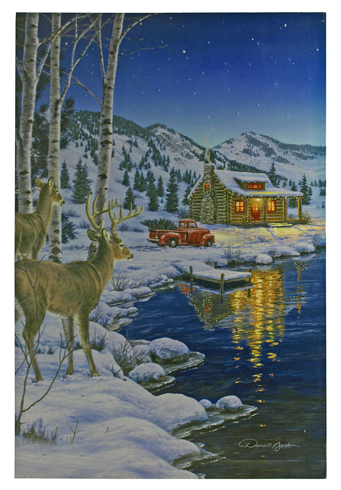 24 in x 16 in LED Canvas Wall Art - Starlight Cabin