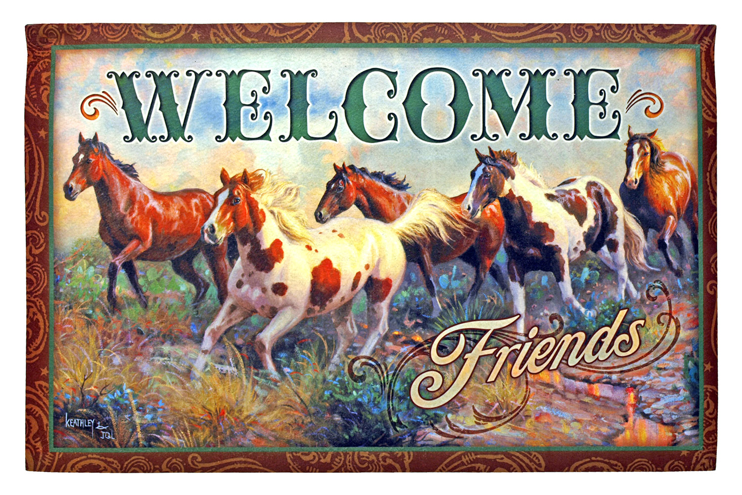 Welcome Friends - Running Horses Door Mat