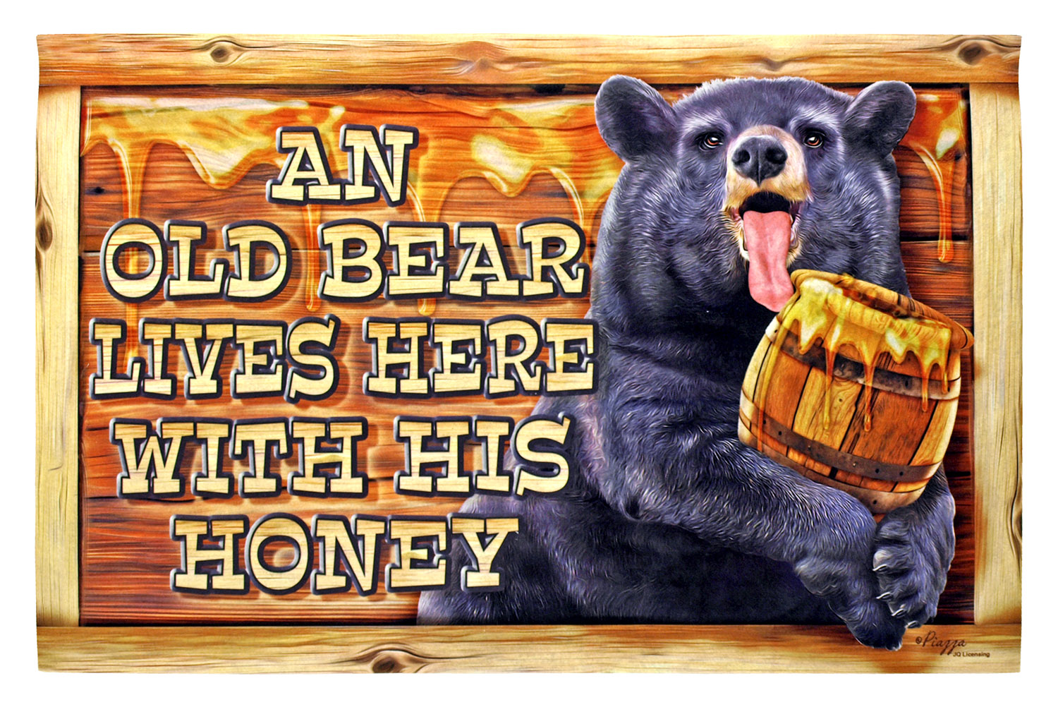 Old Bear Lives Here with His Honey - Welcome Mat