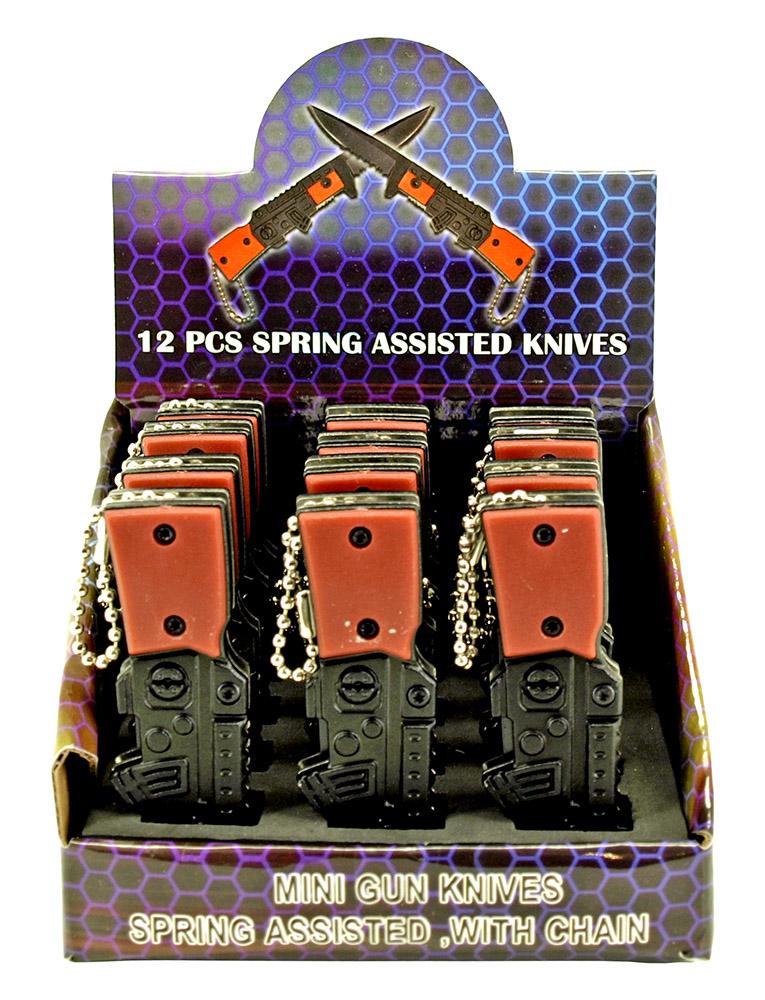 12 - pc. Spring Assisted Mini Gun Knifes Display Set
