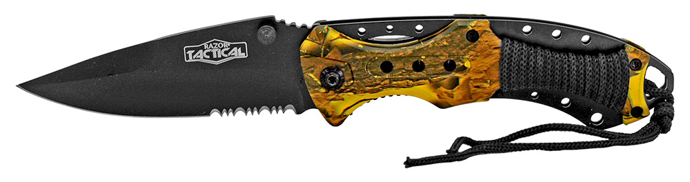 4.75 in Spring Assisted Folding Tactical Knife - Yellow Camo