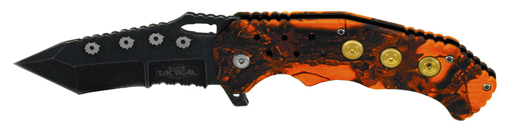 4.75 in Spring Assisted Bullet Catcher Knife - Orange Camo