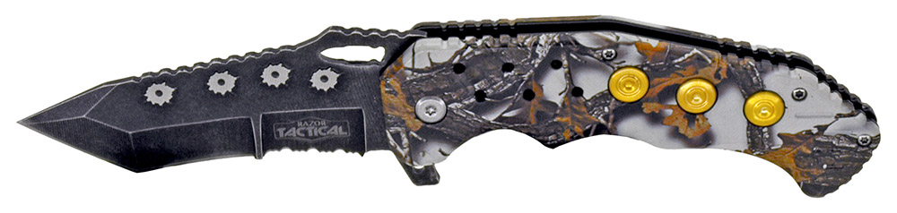 4.75 in Spring Assisted Bullet Catcher Knife - Woodland Winter Camo