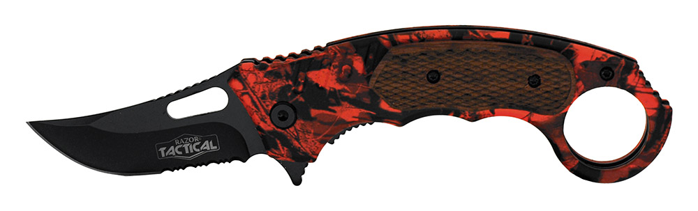 5 in Spring Assisted Tactical Knife - Orange Camo