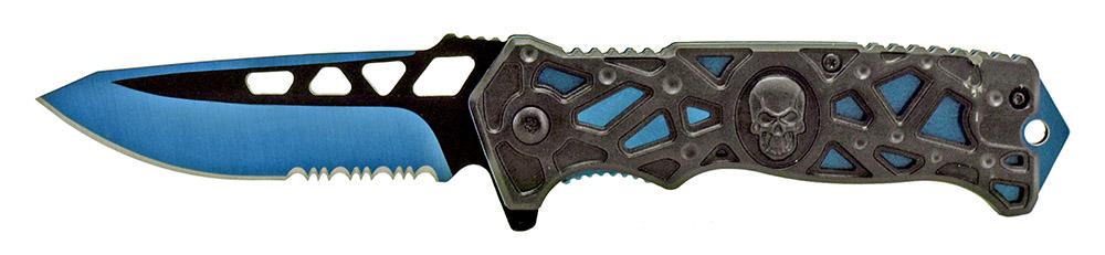 4.75 in Spring Assisted Folding Skull Knife - Blue