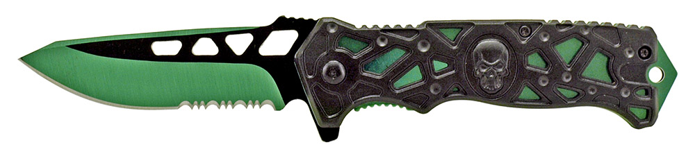 4.75 in Spring Assisted Folding Skull Knife - Green