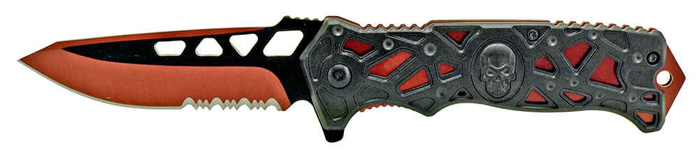4.75 in Spring Assisted Folding Skull Knife - Red