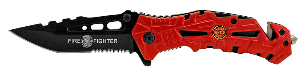 4.75 in Spring Assisted Folding Knife - Firefighter