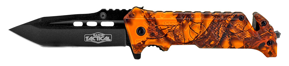 4.5 in Spring Assisted Folding Knife - Orange Camo