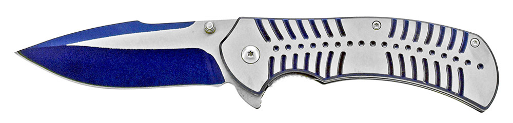 4.75 in Spring Assisted Stainless Steel Folding Knife - Blue