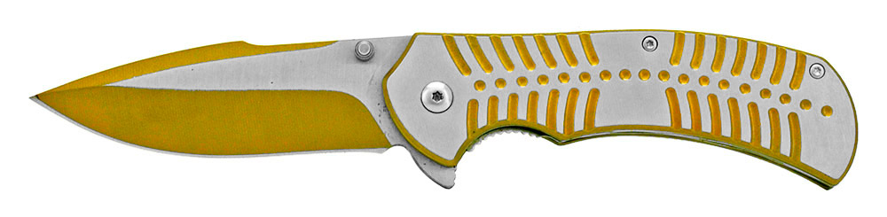 4.75 in Spring Assisted Stainless Steel Folding Knife - Yellow
