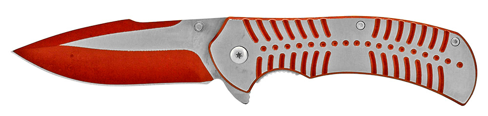 4.75 in Spring Assisted Stainless Steel Folding Knife - Red