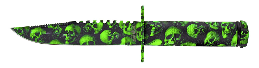 8.5 in Combat Knife - Green Skull