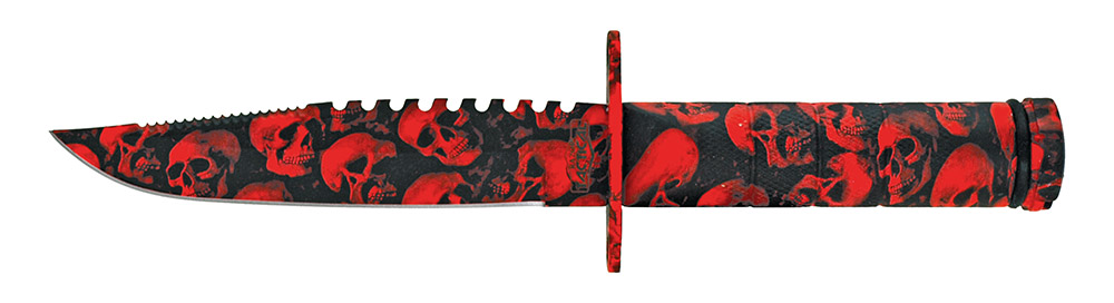8.5 in Combat Knife - Red Skull Camo