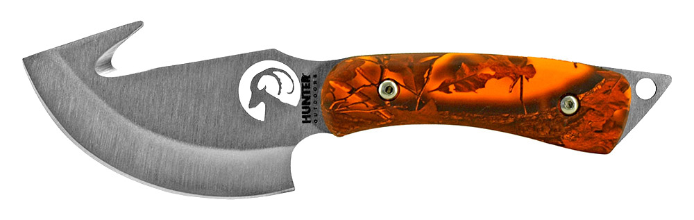 7.25 in Hunting Knife with Gut Hook - Orange Camo