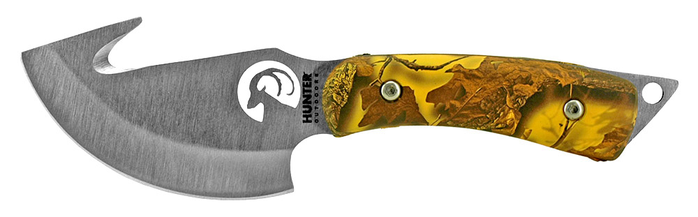7.25 in Hunting Knife with Gut Hook - Yellow Camo