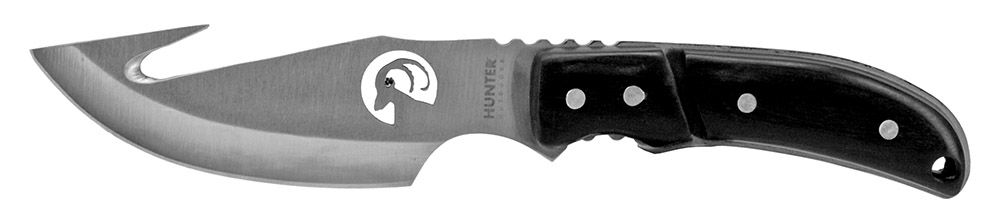 8.5 in Hunting Knife with Gut Hook - Black