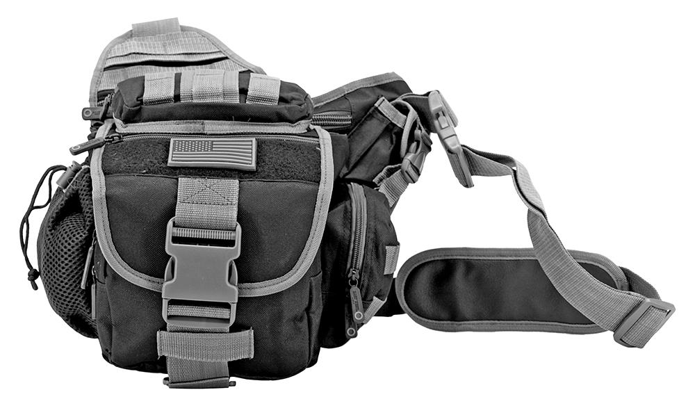 Trail Walker Tactical Over Shoulder Hip Day Bag - Black and Grey