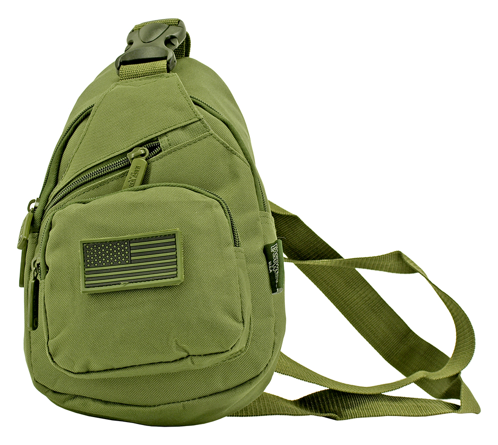 Military Side Sling Bag - Olive Green