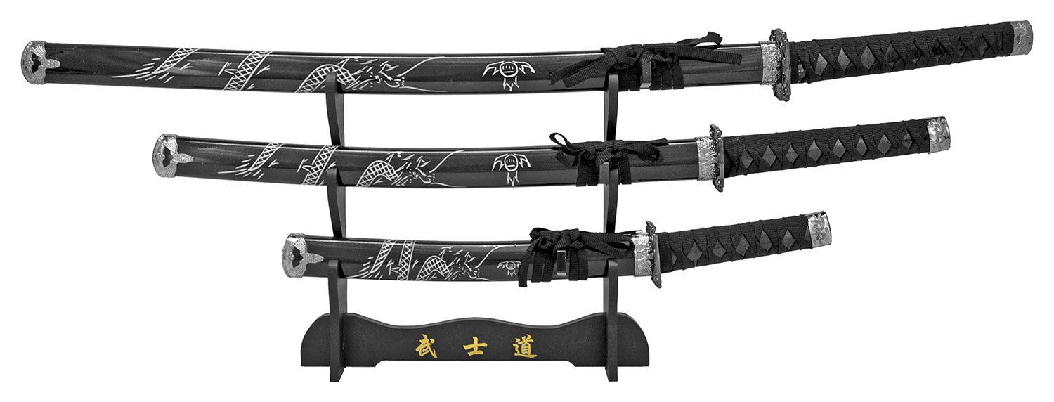 3-pc. Samurai Sword Set - Black Dragon
