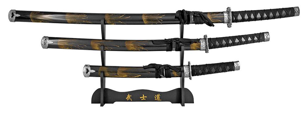 3 Sword Samurai Sword Display - Black