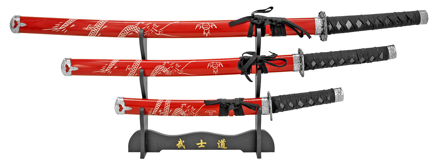 3-pc. Samurai Sword Set - Red Dragon