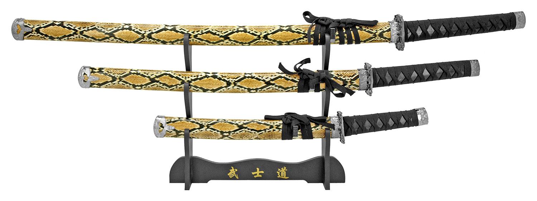 3-pc. Samurai Sword Set - Serpent
