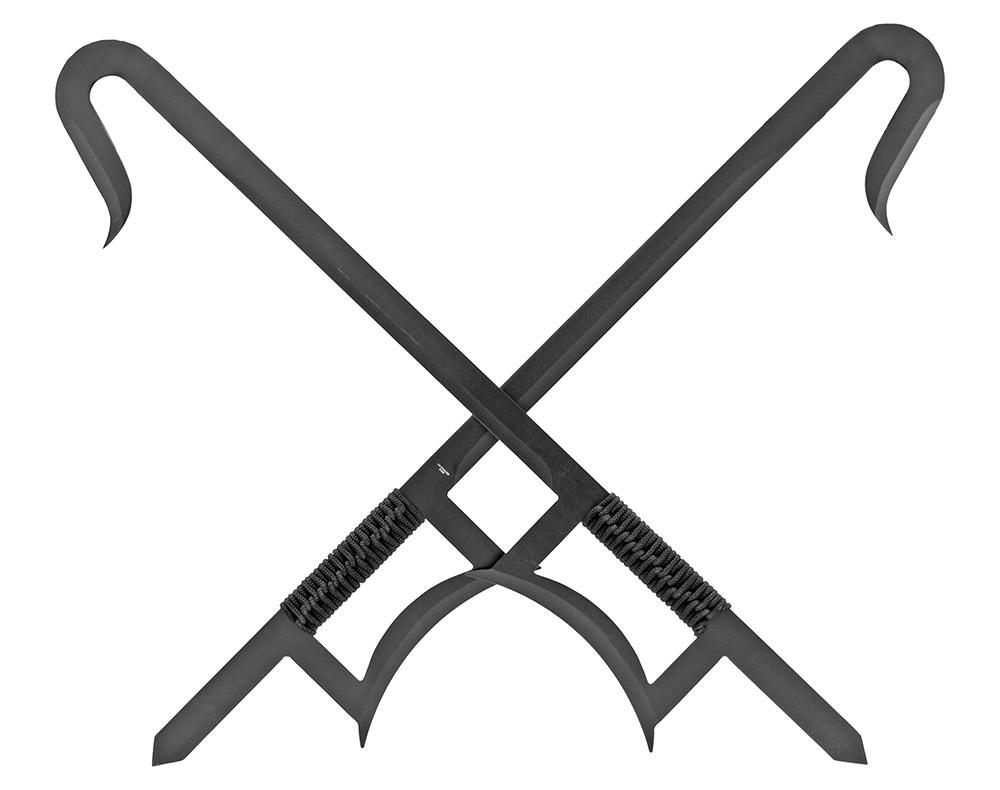 33.25 in 2-pc Chinese Hook Sword - Black