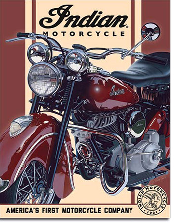 1948 Indian Chief Tin Sign