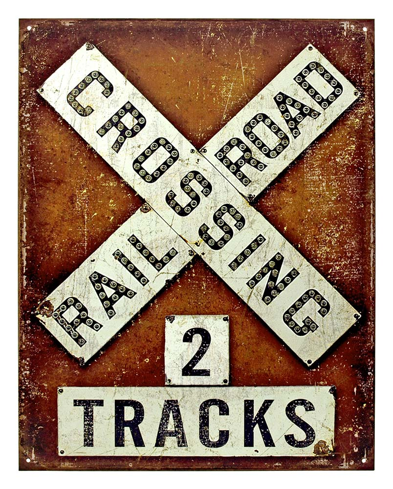 Railroad Crossing Two Tracks Tin Sign