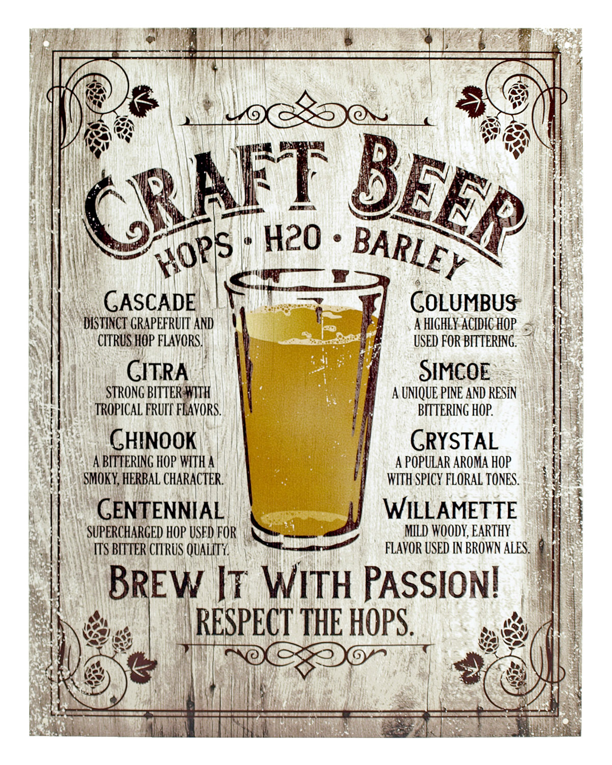 Craft Beer Brew it with Passion - Tin Sign