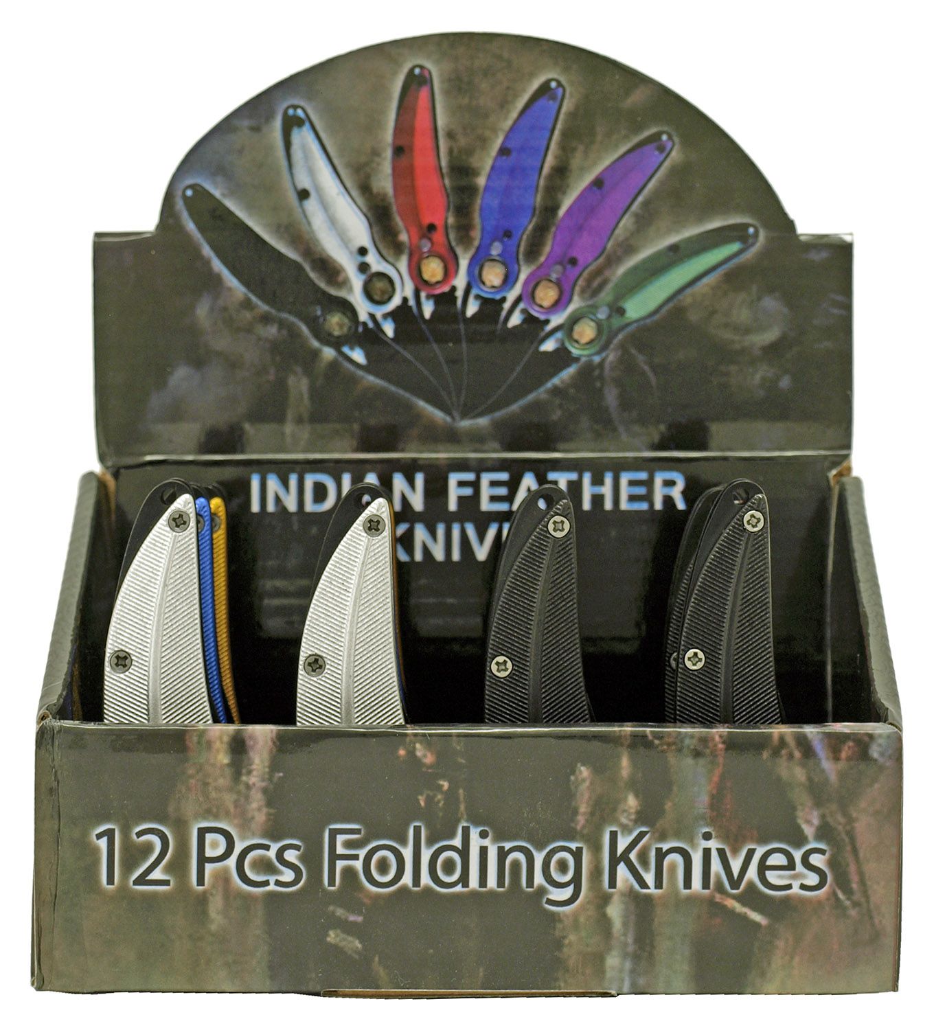 12 - pc. Indian Feather Switchblade Knife Set - Assorted Colors