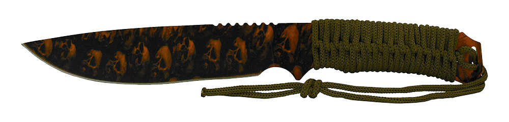 12 in Hunting Knife with Cord Handle - Orange