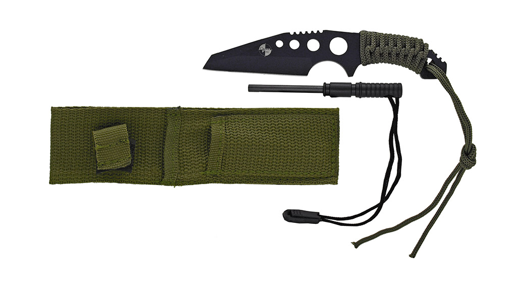 7 in Survival Knife w/Fire Starter - Black and Green