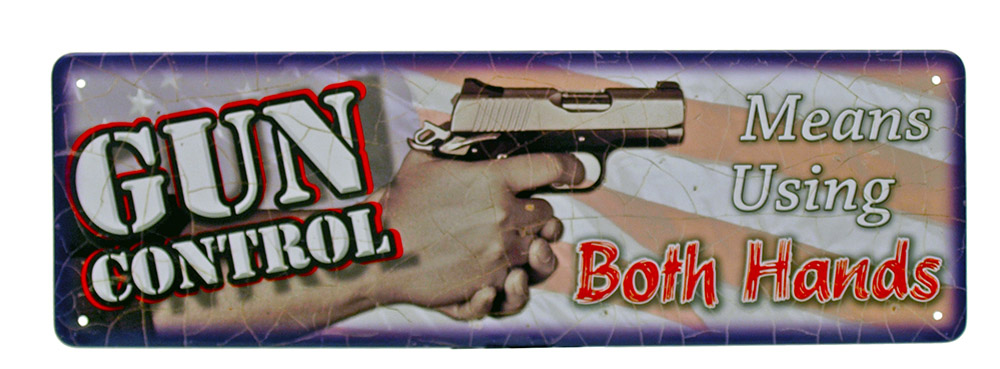 Gun Control Mini Tin Sign