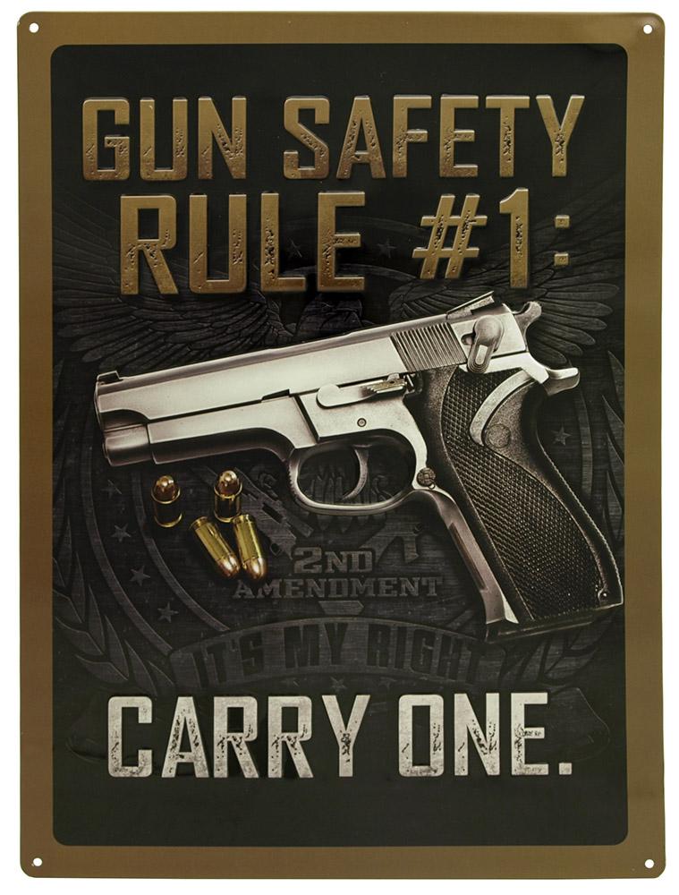 Gun Safety Tin Sign