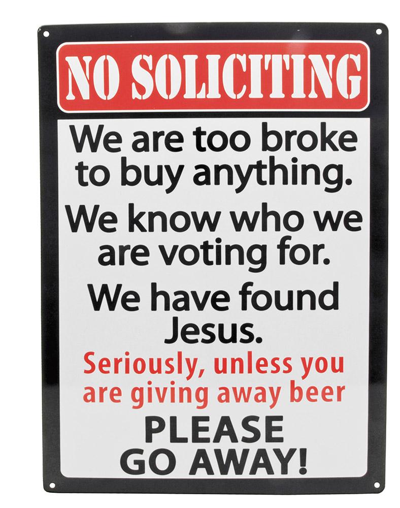 No Soliciting Tin Sign