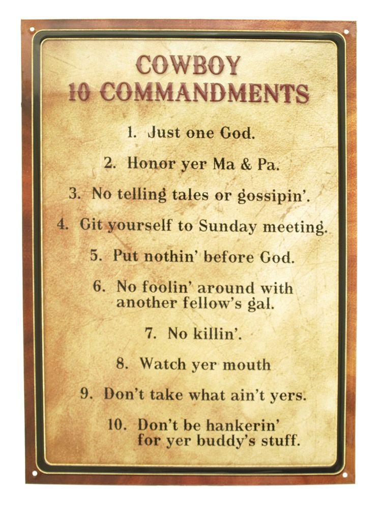 Cowboy 10 Commandments Tin Sign