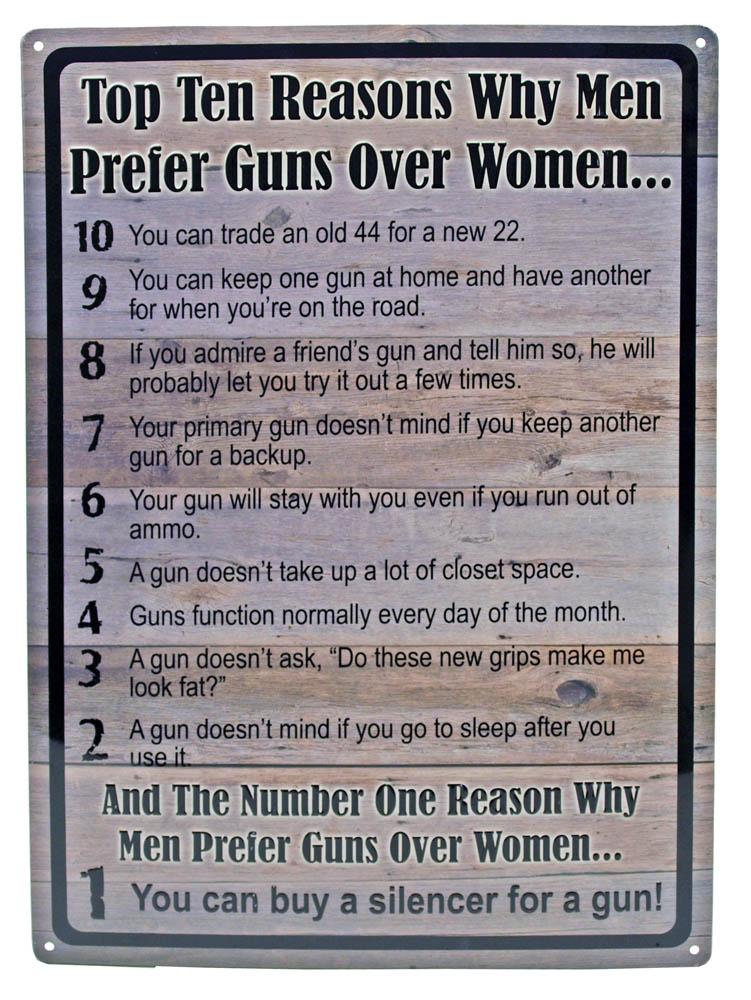 Men Prefer Guns Over Women Tin Sign