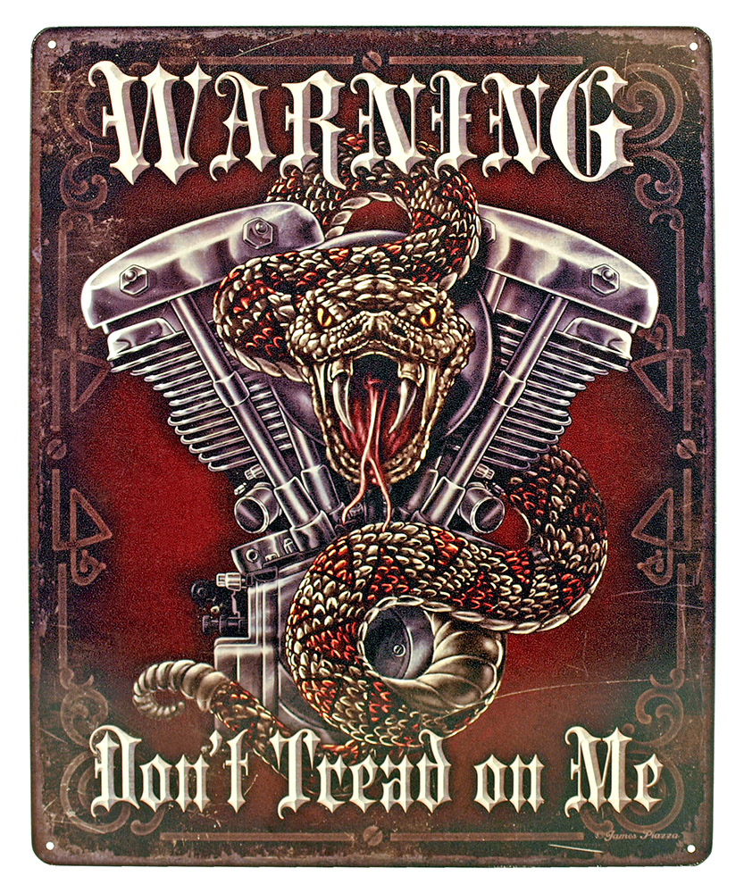 Warning Don't Tread on Me Tin Sign