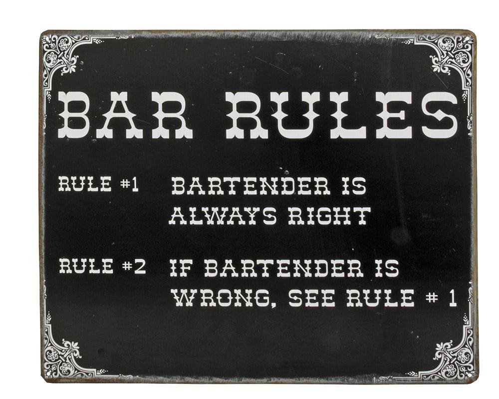 Bartender Bar Rules Tin Sign