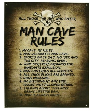 Man Cave Rules Tin Sign