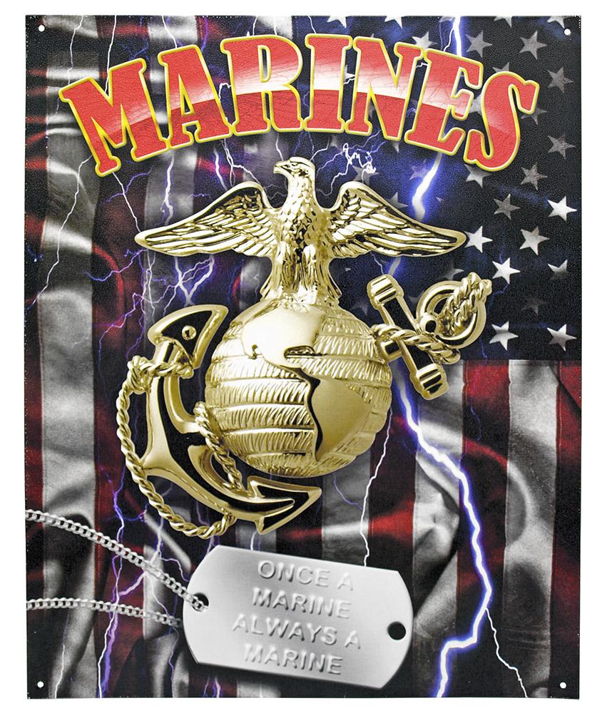 Once a Marine Always a Marine Tin Sign